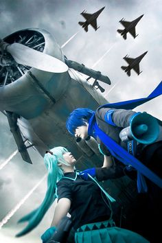'Love is War' version of Hatsune Miku and Kaito Shion. (Vocaloids).