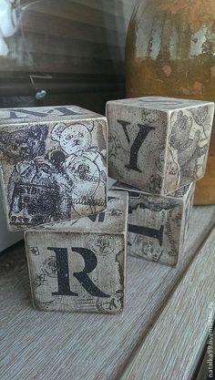 """Купить Кубики """"Винтажное детство"""". - коричневый, Декупаж, декор для интерьера, дерево, игрушка ручной работы"""