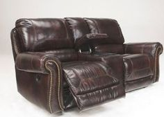 Dexpen - Saddle Leather Match Double Reclining Loveseat w/ Console by Signature Design by Ashley - Furniture Fair - North Carolina - Reclining Love Seat Leather Reclining Loveseat, Roll Away Beds, Classic Living Room, Saddle Leather, Signature Design, Real Leather, Love Seat, Upholstery, Couch