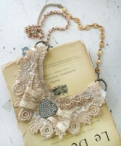 ladyLaceupcycled lace constructed bib necklace fiber by Arey