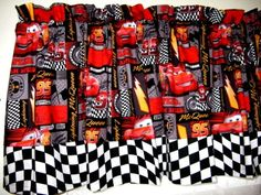 Disney Cars/checkered Flag Speed Patch Curtain Valance