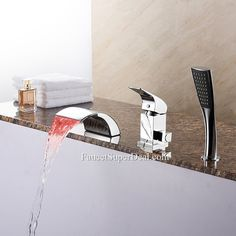 Waterfall Ceramic Valve Brass Stainless Steel Included LED Single Handle Bathtub Faucet--FaucetSuperDeal.com