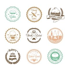 Vintage bakery badges labels and logos vector 4163472 - by DaryaGribovskay on VectorStock®