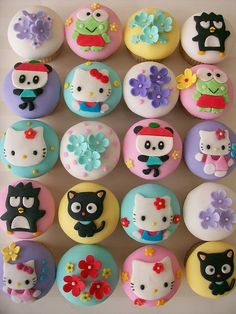 """funkyeahhellokitty: """" Here is another post with some other Sanrio characters besides Hello Kitty… Hello Kitty, Chococat, Badtz Maru, Keroppi and Pandapple cupcakes… these look too cute to eat… """" Pretty Cakes, Cute Cakes, Beautiful Cakes, Amazing Cakes, Love Cupcakes, Yummy Cupcakes, Cupcake Cookies, Cupcake Toppers, Party Cupcakes"""