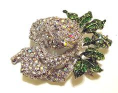 Gorgeous Clear Ab Swarovski Crystal Mini Rose Brooch Pin