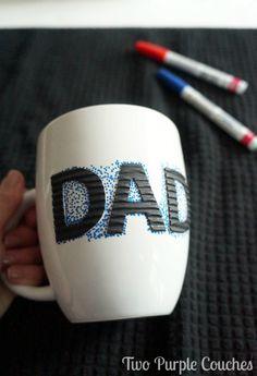 Simple & easy craft - DIY Sharpie paint pen mugs. via www.twopurplecouches.com