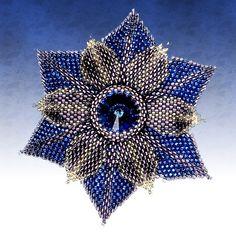 Beaded dahlia: flower, peyote stitch - Jewelry Store