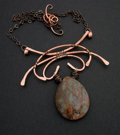 Wire Wrapped Copper, Brass, Stone Pendant Necklace