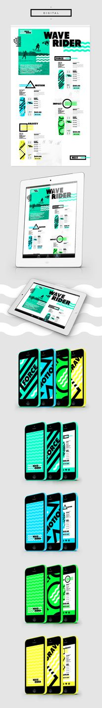 A cool branding project for a wake boarding company. Developing clean shapes and patterns to illustrate the product range. The aim was to develop the brand attributes with the accent colour, bold typography and identity waves. Have also created a visual… Book Design, App Design, Print Design, Design Websites, Web Layout, Layout Design, Apps, Packaging, Design Graphique