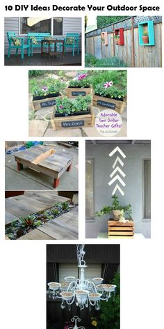 diyncraftz:  10 DIY Ideas Decorate Your Outdoor Space Making your outdoor space look beautiful is super fun plus you get to spend so much more time enjoying the great outdoors.  Here are 10 DIY Ideas Decorate Your Outdoor Space that will make living outdoors a much more enjoyable experience.  Click on over to check them all out today! Follow Us on Tumblr