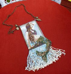 Doublesided peyote stitched mermaid amulet bag by SuesBeadsnPieces, $300.00