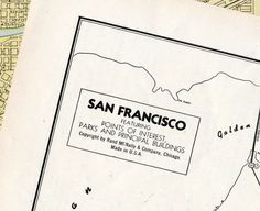 1938 Vintage City Map of San Francisco, California $20