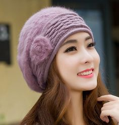 Womens Knit Winter Hat with Fur                                                                                                                                                                                 More
