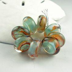 Lampwork Glass Beads, Handmade lampwork bead set, jewelry supplies, lampwork beads, lampwork spacer beads, artist lampwork, Goldfish Pond by LazyCatBeads on Etsy