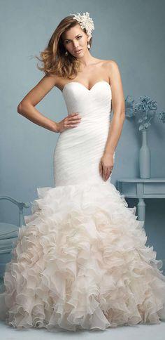 Ruffled skirt wedding dress