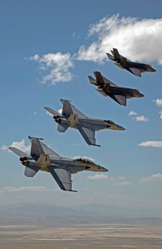 FALLON Nev. (Sept. 3 2015) F-35C Lightning IIs assigned to the Grim Reapers of Strike Fighter Squadron (VFA) 101 and an F/A-18E/F Super Hornets assigned to the Naval Aviation Warfighter Development Center (NAWDC) fly over Naval Air Station Fallons (NASF) Range Training Complex. VFA 101 based out of Eglin Air Force Base is conducting an F-35C cross-country visit to NASF. The purpose is to begin integration of F-35C with the Fallon Range Training Complex and work with NAWDC to refine tactics…
