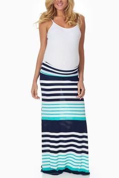 Navy-Blue-Aqua-Striped-Maternity-Maxi-Skirt #maternity #fashion