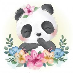 Cute little panda with floral portrait , Niedlicher Panda, Panda Art, Cute Panda, Baby Animal Drawings, Cute Drawings, Horse Drawings, Cute Images, Cute Pictures, Cute Animal Illustration