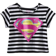 Girls' Superman Graphic Tee Black/White ($12) ❤ liked on Polyvore featuring baby girl, girls clothes, kids, kids clothes and tops