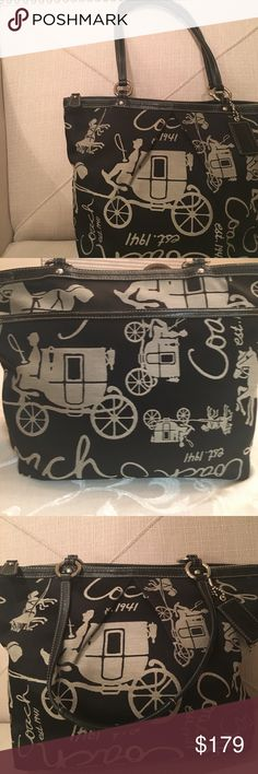 """NWT Coach purse. Black and Gray Coach purse Black and Gray with stagecoaches  and  year Coach was established on the outside The back of the purse has one pocket, 1 zip pocket and 2 additional pockets on the inside. Never used. Selling because I have too many purses. Approximate: 14"""" x 10"""" w, strap length: 8"""". No trades. Coach Bags Shoulder Bags"""
