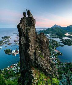 "Travel Earth (@aroundtheworldpix) on Instagram: ""Now that's a climb! Svolværgeita Summit, Norway. Photography by @chrisburkard #aroundtheworldpix"""