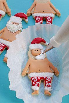 How to Make Fun Mele Kalikimaka Cookies - Decorated Santa Sugar Cookies thebearfootbaker.com