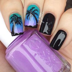 palm tree nails with gorgeous teal purple gradient by kylettta