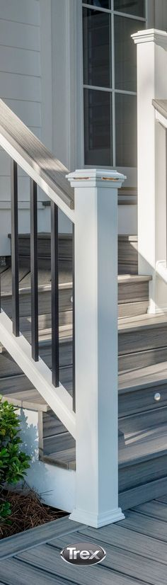 Attention to detail and the addition of a cocktail rail top in the same color as the decking -- #Trex Island Mist takes a traditional railing to extraordinary style. (Porch Step Diy)