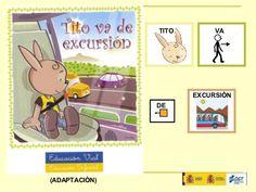 """""""TITO VA DE EXCURSIÓN"""".  Cuento adaptado con pictogramas de ARASAAC e impreso por la Dirección General de Tráfico."""