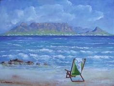 Paintings - Table Mountain with Beach chair for sale in Cape Town (ID:464277659)