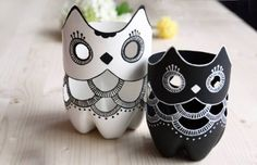 Recycled Plastic Bottle Owl Containers. They can be used for storing kitchen utensils or craft supplies - Homemade Gifts for Mother's Day