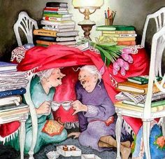 Ideas funny love illustration inge look Norman Rockwell, Belle Photo, Old Women, Old Ladies, Book Worms, Book Lovers, Tea Party, Gifs, Illustration Art