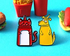 Very Saucy Pins - Katie Abey and Innabox Collaboration - Soft Enamel Pin Set - Ketchup Pin - Mustard Pin - Cat Pin - Dog Pin