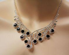 "WHITE BLACK SPARKLE AUSTRIANS CRYSTALS WEDDING BRIDAL NECKLACE EARRINGS SET 21"""