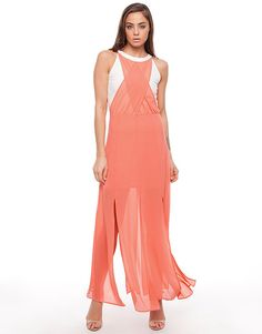 c69d3d5c8b Shilla Duty Chiffon Layered Maxi Dress Dresses Available in White  amp   Coral - Fashion Brand
