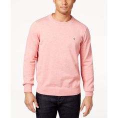 Tommy Hilfiger Signature Solid Crew-Neck Sweater ($50) ❤ liked on Polyvore featuring tops, sweaters, light scallop heather, pink sweater, scallop edge top, crew neck sweaters, tommy hilfiger and crew top