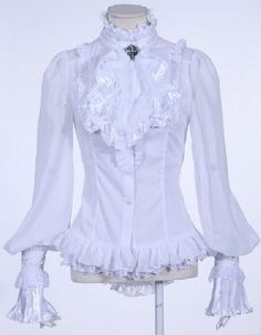 White ruffled shirt with balloon sleeves, victorian style   Shop : www.rqbl.com