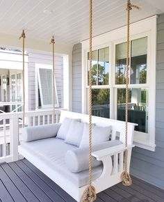 Hanging swing beds are booming and with custom designed cushions bolsters and throw pillows this installation is spectacular! Have Daybed? Beach House Decor, Diy Home Decor, Beach House Rooms, Beach House Interiors, Summer Porch Decor, Beach Cottage Style, Design Case, New Homes, Interior Design