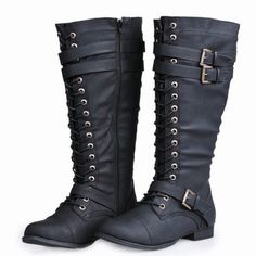 """Black tall boots by Twisted! You'll make an instant impact when you hit the scene in the Trooper combat boot by Twisted. Crafted from synthetic leather, this fashion boot is a perfect fit for your inner rock star. lace-up front, full length side zipper lets you slip this shoe on and off for easy wear from start to finish. Shaft measures approximately 14.5"""" from arch, Wide Width, Wide Calf, 18.5"""" Opening Circumference, Lace-Up Closure w/ Adjustable Buckle Strap, Shaft Measures Approx. 14.5""""…"""