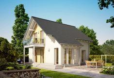 Solution 106 – V5 - Living Haus - http://www.hausbaudirekt.de/haus/solution-106-v5/ - Fertighaus als Einfamilienhaus Modernes Haus Stadthaus mit Satteldach