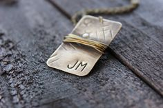 Oxidized Natural Brass Hand Stamped Initial Dog Tag by RUSTICBRAND, $27.00