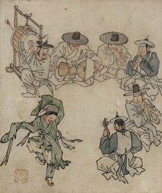 [Joseon Dynasty (18th century)] Album of Genre Paintings by Danwon (Kim Hong-do) 🔺🎶🌀🎶More At FOSTERGINGER @ Pinterest  🎶🌀🎶🔺