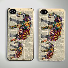 Elephant art  newspaper Custom iPhone 4/4S Case my two loves in one awesome phone case
