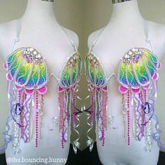 Rainbow mermaid rave bra jellyfish costume Lisa Frank samba bra EDC outfit festival fashion Etsy listing at https://www.etsy.com/listing/523390185/rainbow-jellyfish-rave-bra-samba-bra