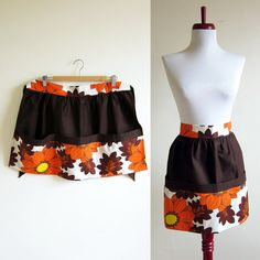 Vintage 1960s Apron / FLOWER POWER Chocolate Brown Cotton Apron / Deadstock on Etsy, $14.87