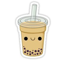 'Cute Bubble Tea' Sticker by Daanrekers Food Stickers, Printable Stickers, Cute Stickers, Cute Fruit, Cute Food, Overlay Tumblr, Tumblr Png, Cute Kawaii Drawings, Tumblr Stickers