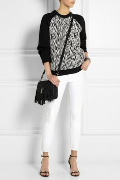 White jeans, Pattern sweater, Proenza Schouler shoulder bag