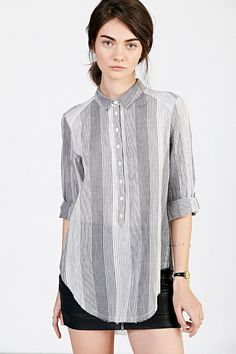 Medium - BDG Rumpled Popover Shirt - Urban Outfitters