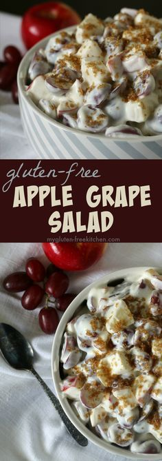 Apple Grape Salad naturally gluten-free recipe. Favorite side dish throughout the year! #glutenfreerecipe