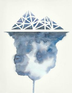 Iceberg no.2 Art Print by Hrefna Watercolor cloudy texture and geometric shape iceberg.
